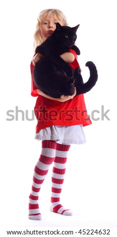 A young girl holding black cat, isolated against a white background