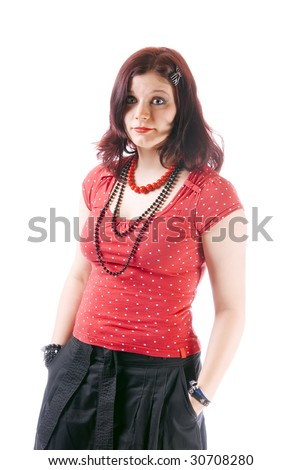 A young girl in red looking very doubtful