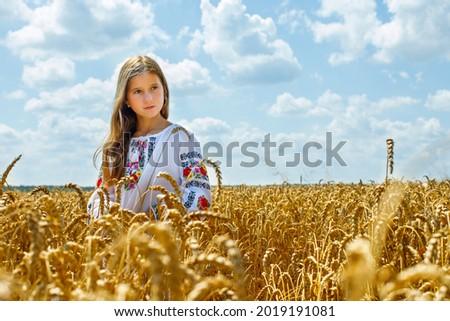 A young girl in Ukrainian clothes,beautiful ukrainian girl in the field Сток-фото ©