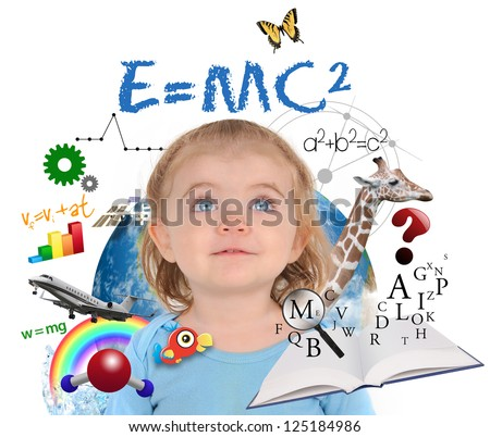 A young girl is looking up at different science, math and physics icons around her on a white background. Use it for a school or learning concept.