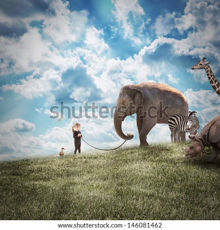 stock-photo-a-young-girl-is-walking-a-big-elephant-on-a-wild-landscape-with-other-animals-following-on-a-path-146081462.jpg