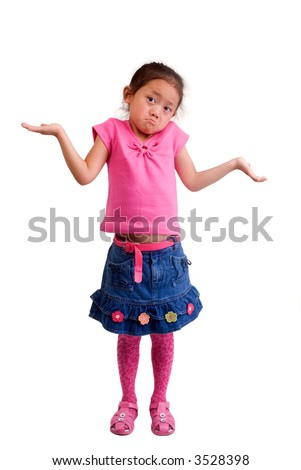 A young girl lifts her arms ....I don't know.