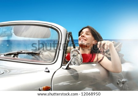 a young girl on the car