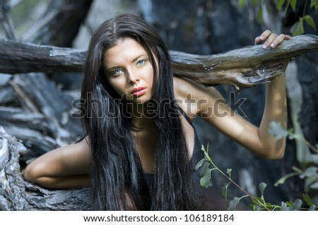A young girl , portrait series of girls in nature