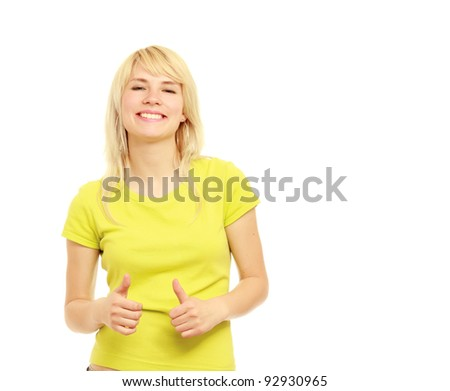 A young girl showing ok , isolated on white background