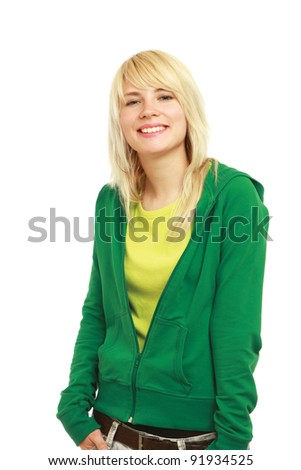 A young girl standing isolated on white background