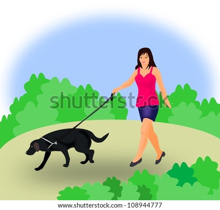 A young girl walking the dog in the country.