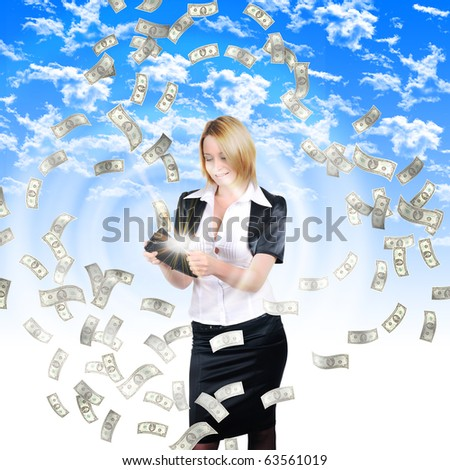 A young girl with a wallet from which cash flow ejected.Collage