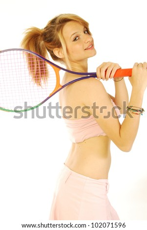 A young girl with her tennis racket 174