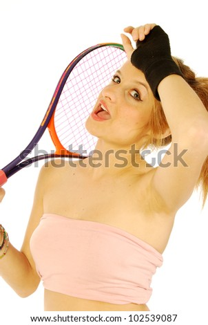 A young girl with her tennis racket 194 - stock photo