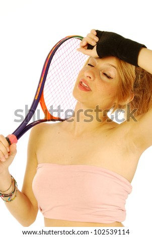 A young girl with her tennis racket 195