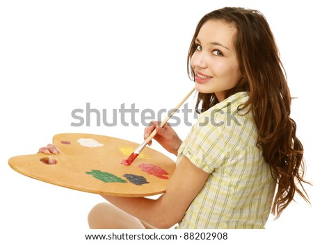 A young girl woth a palette