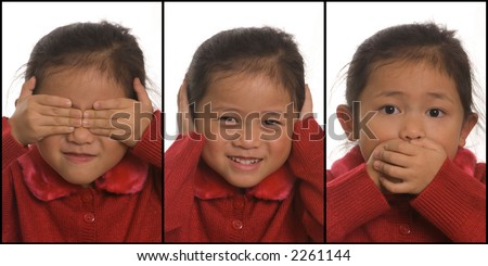 A young girls plays out See NO Evil, Hear no Evil, and Speak no Evil - stock photo