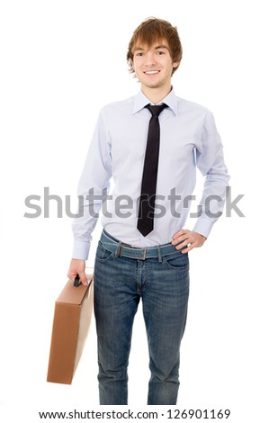 a young guy brings parcel, box