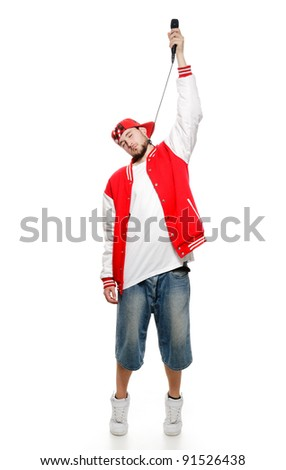 A young guy with a beard strangles himself microphone, isolated on white background.