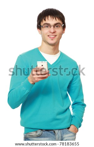 A young guy with a mobile phone