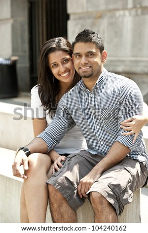 A young happy couple on a sunny day.