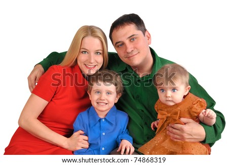 A young happy family is smiling in a portrait with bright colors on a white background.