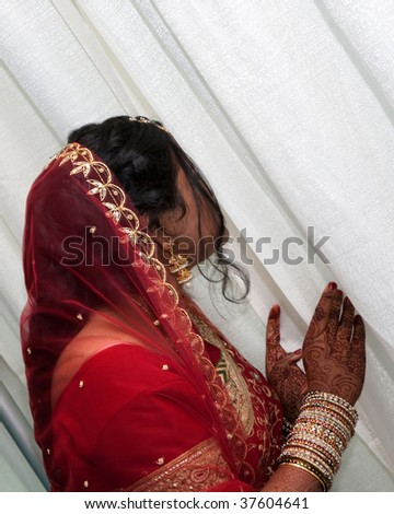 A young hindu bride waits to meet her new husband