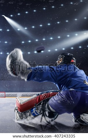 Ice Hockey Goalie Mask And Gloves On A Dark Background Free Image