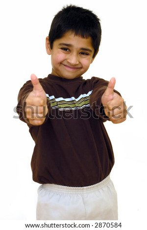 A young kid showing double thumbs up