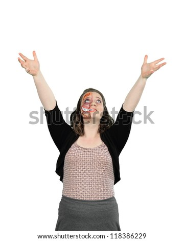 A young lady with gorey mutant halloween stage makeup isolated on white