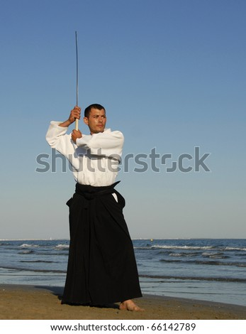 a young man are training in Aikido on the beach - stock photo