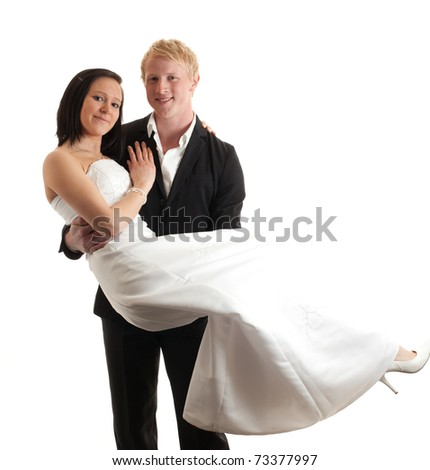 a young man carrying a young woman isolated on white