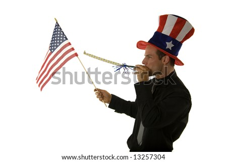 A young man celebrating 4th of July