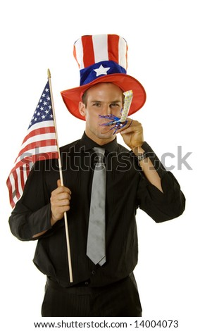 A young man celebrating 4th of July - stock photo