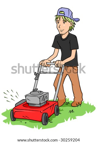 A young man cutting grass with a push lawn mower.