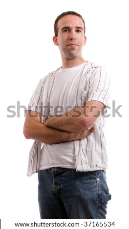 A young man dressed in casual clothing is standing with his arms crossed, isolated against a white background