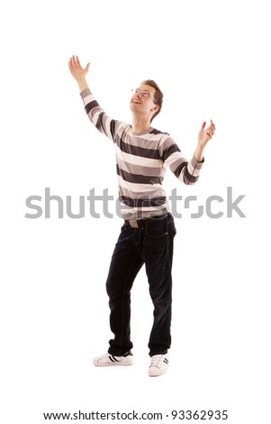 A young man, hands up isolated on white background