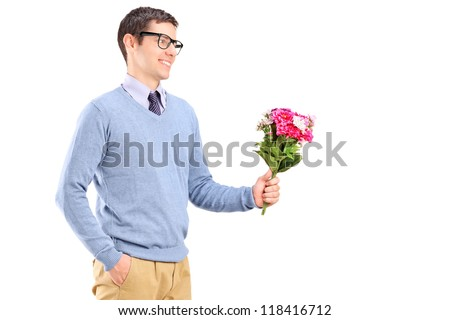A young man holding flowers isolated on white background