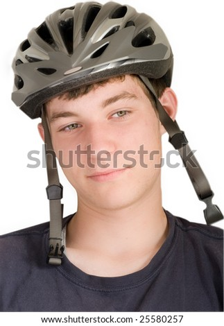 a young man in a bike helmet isolated on white
