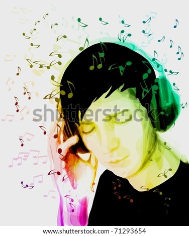 A young man listens to music. Creative background