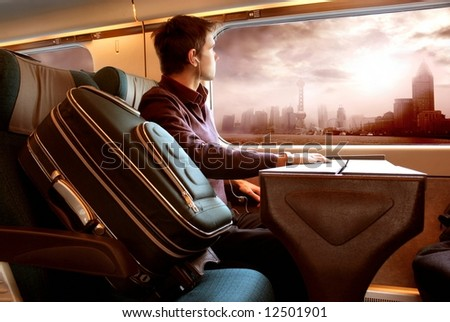 a young man on the train