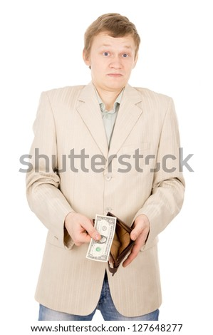a young man shows that he has in the wallet a one dollar isolated on white background