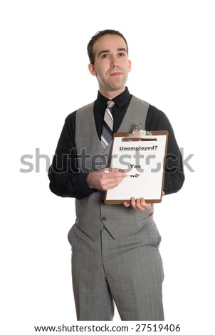 A young man taking a poll on whether or not he is unemployed, isolated against a white background