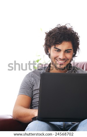 a young man using laptop