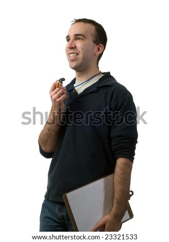 A young man volunteering to be a coach, isolated against a white background