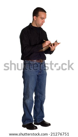 A young man wearing casual clothing, taking inventory with a clipboard