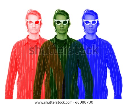 A young man wearing 3D glasses in a button up shirt isolated on white background