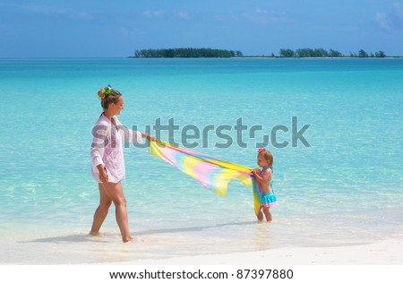 a young mother and her daughter on the beach