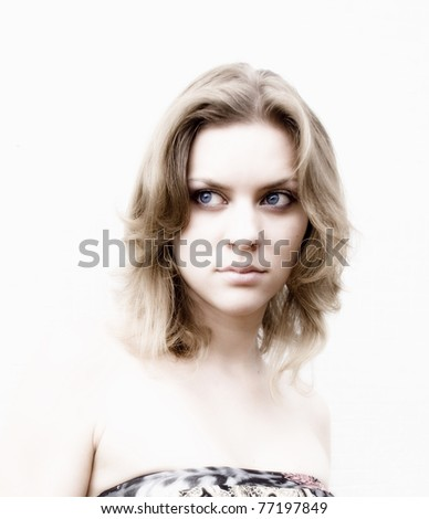 A young pretty girl portrait on the white background