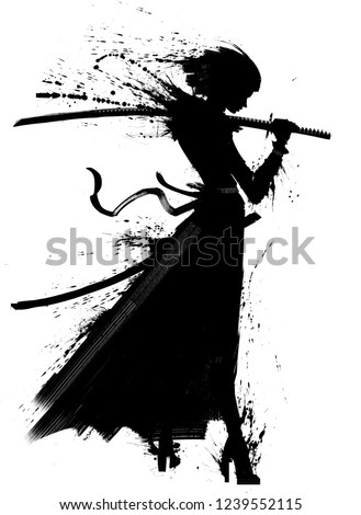 A young samurai girl with katana