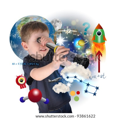 A young science boy is looking into space with carious astronomy icons. There is a white background with a planet. Use it for an education concept.