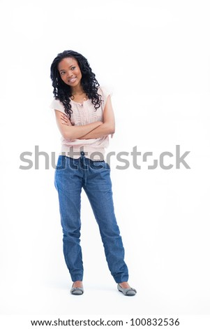 A young smiling woman with her arms folded standing against a white background