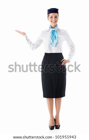 A young stewardess on a white background