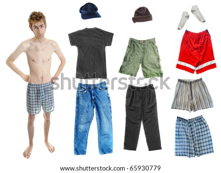 A young white Caucasian adult wearing underwear isolated on white with a bunch of clothes on the right. Mix and match! You can place the clothing on his body.